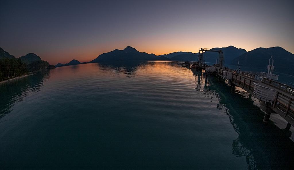 Curvature of the Earth, Porteau Cove Provincial Park, Howe Sound, British Columbia, Canada