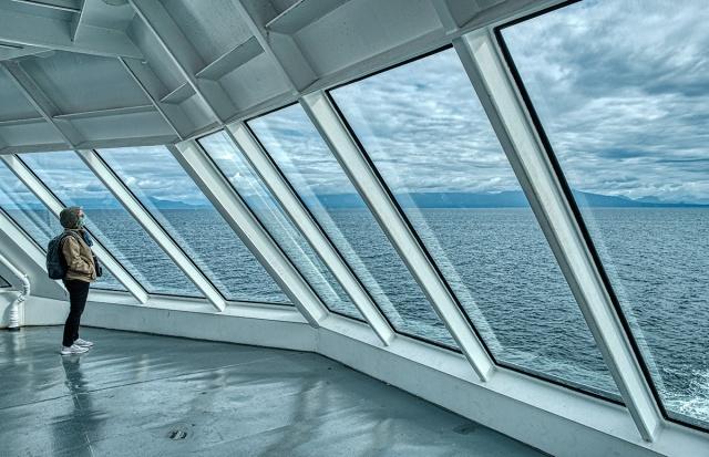Looking Back, BC Ferries, Nanaimo to Horseshoe Bay, Strait of Georgia, British Columbia, Canada