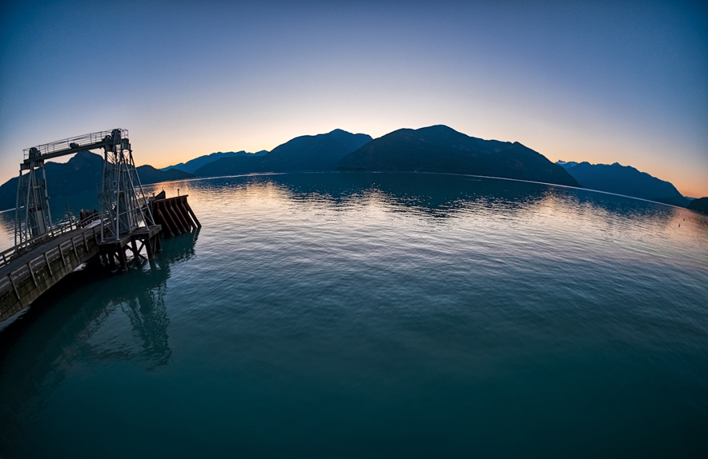 Fisheye Sunset, Porteau Cove Provincial Park, Howe Sound, Sea to Sky Highway, British Columbia, Canada